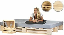 sunnypillow Palettenbett aus Holz Holzbett 160 x