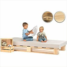 sunnypillow Palettenbett aus Holz Holzbett 90 x