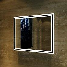 sunnyshowers Badspiegel Lichtspiegel Kupfer/bleifreie Spiegel Wandspiegel 60 x 50cm kaltweiß IP44 energiesparend