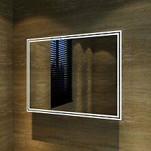 sunnyshowers Badspiegel Lichtspiegel Kupfer/bleifreie Spiegel Wandspiegel 90 x 70cm kaltweiß IP44 energiesparend