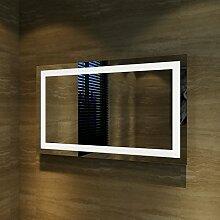 sunnyshowers Badspiegel Lichtspiegel Kupfer/bleifreie Spiegel Wandspiegel 100 x 60cm kaltweiß IP44 beschlagfrei