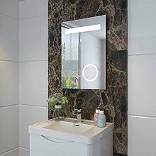 sunnyshowers LED Badezimmer Lichtspiegel und Schminkspiegel mit Beleuchtung IP44 50 x 70cm