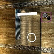sunnyshowers LED Badspiegel Badezimmerspiegel 50 x 70cm Lichtspiegel mit Schminkspiegel mit Beleuchtung IP44 [Energieklasse A+]