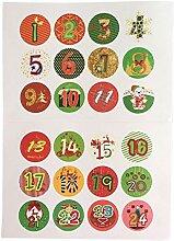 Sunnyushine 24 Adventskalender Sticker Zahlen