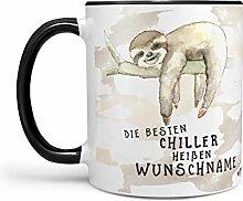 Sunnywall Faultier-Tasse Kaffeebecher Wunsch-Tasse