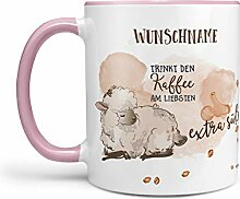 Sunnywall® Tasse Wunschname Schaf Kaffee extra