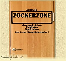 Sunnywall Wandtattoos Türaufkleber Zockerzone