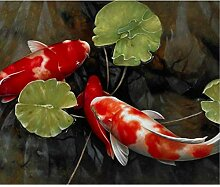 SUNNYWLH Wandbild Chinesische Koi Fisch Lotus