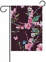 SUNOP Polyester-Gartenflagge Blumen Aprikosenbaum
