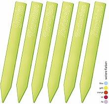 SUNPLAY 6er Set 30 cm lange fluoreszierende Kräuterstecker Gartenstecker Pflanzschilder für Kräuter & Gemüse - Farbe: Grün - Zucchini Gurke Radieschen Zwiebeln Karotten Kartoffeln
