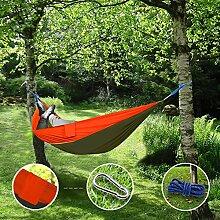 """Sunray Hängematte aus Fallschirm Nylon Ausrüstung, auch als Campingstühle, für Rucksacktourismus, Reiseliebhaber, Outdoor Trekking, Camping Hammock, Wandern, Reise, Garten (108"""""""" x 55"""""""", 440lb Belastung, Armeegrün & Orange)"""