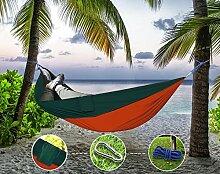 """Sunray Hängematte aus Fallschirm Nylon Ausrüstung, auch als Campingstühle, für Rucksacktourismus, Reiseliebhaber, Outdoor Trekking, Camping Hammock, Wandern, Reise, Garten (108"""""""" x 55"""""""", 440lb Belastung, Orange & Dunkelgrün)"""