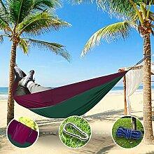 """Sunray Hängematte aus Fallschirm Nylon Ausrüstung, auch als Campingstühle, für Rucksacktourismus, Reiseliebhaber, Outdoor Trekking, Camping Hammock, Wandern, Reise, Garten (108"""""""" x 55"""""""", 440lb Belastung, Dunkelgrün & Lila)"""