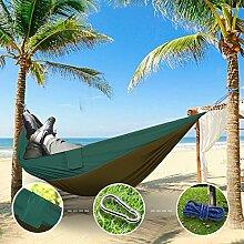 """Sunray Hängematte aus Fallschirm Nylon Ausrüstung, auch als Campingstühle, für Rucksacktourismus, Reiseliebhaber, Outdoor Trekking, Camping Hammock, Wandern, Reise, Garten (108"""""""" x 55"""""""", 440lb Belastung, Leicht tan & Dunkelgrün)"""