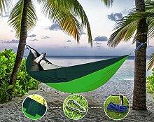 """Sunray Hängematte aus Fallschirm Nylon Ausrüstung, auch als Campingstühle, für Rucksacktourismus, Reiseliebhaber, Outdoor Trekking, Camping Hammock, Wandern, Reise, Garten (108"""""""" x 55"""""""", 440lb Belastung, Hellgrün & Dunkelgrün)"""