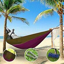 """Sunray Hängematte aus Fallschirm Nylon Ausrüstung, auch als Campingstühle, für Rucksacktourismus, Reiseliebhaber, Outdoor Trekking, Camping Hammock, Wandern, Reise, Garten (108"""""""" x 55"""""""", 440lb Belastung, Leicht tan & Lila)"""