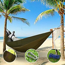 """Sunray Hängematte aus Fallschirm Nylon Ausrüstung, auch als Campingstühle, für Rucksacktourismus, Reiseliebhaber, Outdoor Trekking, Camping Hammock, Wandern, Reise, Garten (108"""""""" x 55"""""""", 440lb Belastung, Leicht tan & Armeegrün)"""