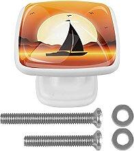 Sunset River Boat Orange Kommode Griff mit