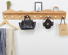 SUNSHINE Bambus Holz Kleiderbügel Einfache Wand-montiert Wohnzimmer Türmantel Wandregale, Metall Haken ( Farbe : A , größe : 4 hooks+5 hooks )