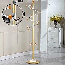 SUNSHINE Kleiderständer Metall Edelstahl Schlafzimmer Podest Stil Wohnzimmer Kleiderbügel, Drehhaken, H185cm ( Farbe : Gold )