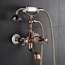Sunsui Rose Gold Badewanne Armatur Holz- Badewanne Armatur Dusche set Messing in die Wand queen-size Badewanne Armatur, Rose Gold Classic blau gefliesten)