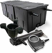 SunSun 3-Kammer Filter Set 90000l 36W UVC 3er Teich Klärer NEO10000 80W Pumpe Skimmer