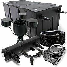 SunSun Filter Set 90000l Teich 24W Teichklärer NEO10000 80W Pumpe 25m Schlauch Skimmer