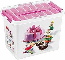 SUNWARE Q-Line Fun-baking Decor box 9 L + 1 Einsatz - weiß/transparent/rosa