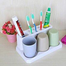 SUOVK Zahnbürstenhalter Kunststoff-Badezimmer-Set