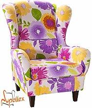 Supellex, Ohrensessel / Fernsehsessel Sofia, Dessin: Blumen, violett/gelb