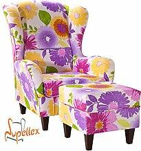 Supellex, Ohrensessel / Fernsehsessel Sofia mit Hocker, Dessin: Blumen, violett/gelb