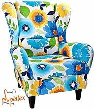 Supellex, Ohrensessel / Fernsehsessel Sofia mit Hocker, Dessin: Muster Floral, blau/gelb