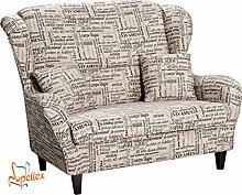 Supellex, Sofa / Ohrensessel, Zweisitzer mit Hocker, Dessin: Schriftzüge Lebensweisheiten, beige