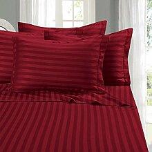 Super 4Stück Bogen Set weiche 350TC Burgund Stripe UK Betten 100% ägyptische Baumwolle extra tief Tasche (22Zoll)–von TRP Blatt–B10