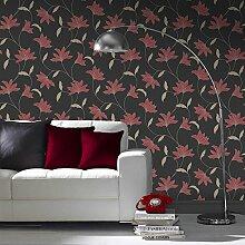 Super Fresco Tapete, Schwarz/Rot/Pink, Full 10M