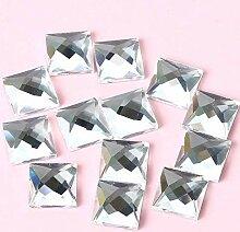 Super Glänzende Weiße Quadratische Flatback Glas