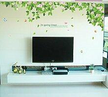 Super Groß, Grün Baum Blumen Schmetterlinge Wand Aufkleber PVC Home Aufkleber House Vinyl Papier Dekoration Tapete Wohnzimmer Schlafzimmer Küche Kunst Bild DIY Wandmalereien Mädchen Jungen Baby Kinderzimmer Spielzimmer