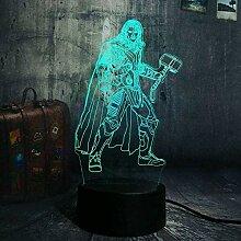 Super Hero Thor 3D LED NachtlichtUSB Lampe Touch