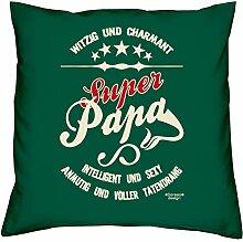 Super Papa :: Geschenk-Set: Kissen inkl. Füllung plus Urkunde Bleibende Geschenkidee für Väter zum Geburtstag - Persönliches Geburtstagsgeschenk Farbe:dunkelgrün