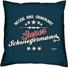 Super Schwiegermama - Kissen 40x40 inkl. Füllung plus Urkunde :: Bleibendes Geschenk Geschenkidee Geburtstagsgeschenk Weihnachtsgeschenk - Geschenk-SetFarbe:navy-blau