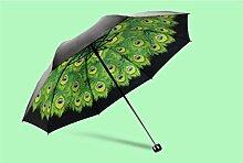 Super Sonnenschutz schwarz Regenschirm Vinyl Sonnenschirm weiblich Sunny Regenschirm Fold Anti-UV Regenschirme ( Farbe : #2 )