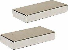 Super Strong 50mm x 25mm x 10mm großen Block Neodym Bar Magnete N52Grade, 2pcs