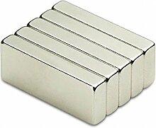 Super Strong 50mm x 25mm x 10mm großen Block Neodym Bar Magnete N52Grade, 5 Stück