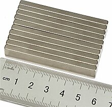 Super Strong Extra Lang 58mm x 10mm x 5mm Rare Earth Neodym-Block Bar Magnete Grade N35, 5 Stück