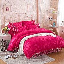 Super weich halten warmen vier Sets Bettwäsche Bett Rock Quilt Kissenbezug ( farbe : # 2 , größe : 1.5m Bed )