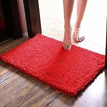 Superfine faser Chenille verdicken Teppich Teppich Küche Badezimmer Wasseraufnahme Badezimmer Rutschfeste Matte Türmatten Fußpolster , red , 40*60