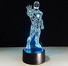 Superheld Iron Man 3D Optische Täuschung Lampe