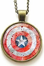 Superhero Captain Shield Art Glas-Foto-Halskette