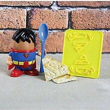 Superman Eierbecher mit Löffel und Toastschneider - Eierhalter Super Man