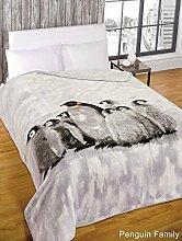 Superweiche Fleece-Decke fürs Schlafzimmer mit einer Pinguin Familie, Überwurf aus Kunstnerz
